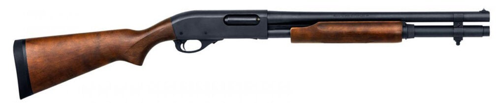 The Model 870 Hard Wood Home Defense model with an extended magazine.