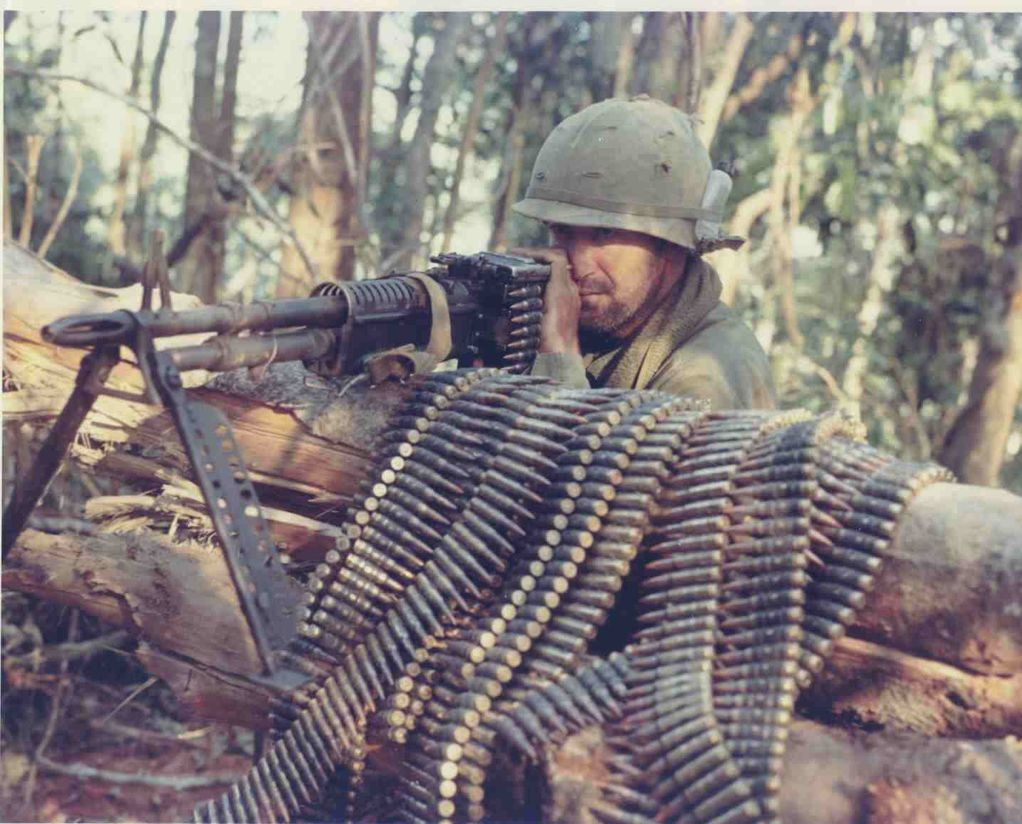 The M60 belt-fed machine gun, chambered in .308 Win. was put in service in the 1950s and served in the Vietnam War as the Army's light machine gun where it was nicknamed,
