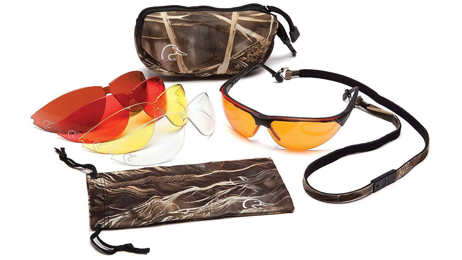 Doerr goes with these shooting glasses from Ducks Unlimited with interchangeable colored lenses.
