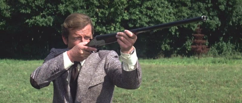 Bond fires his Holland & Holland shotgun at a sniper during a pheasant hunt.