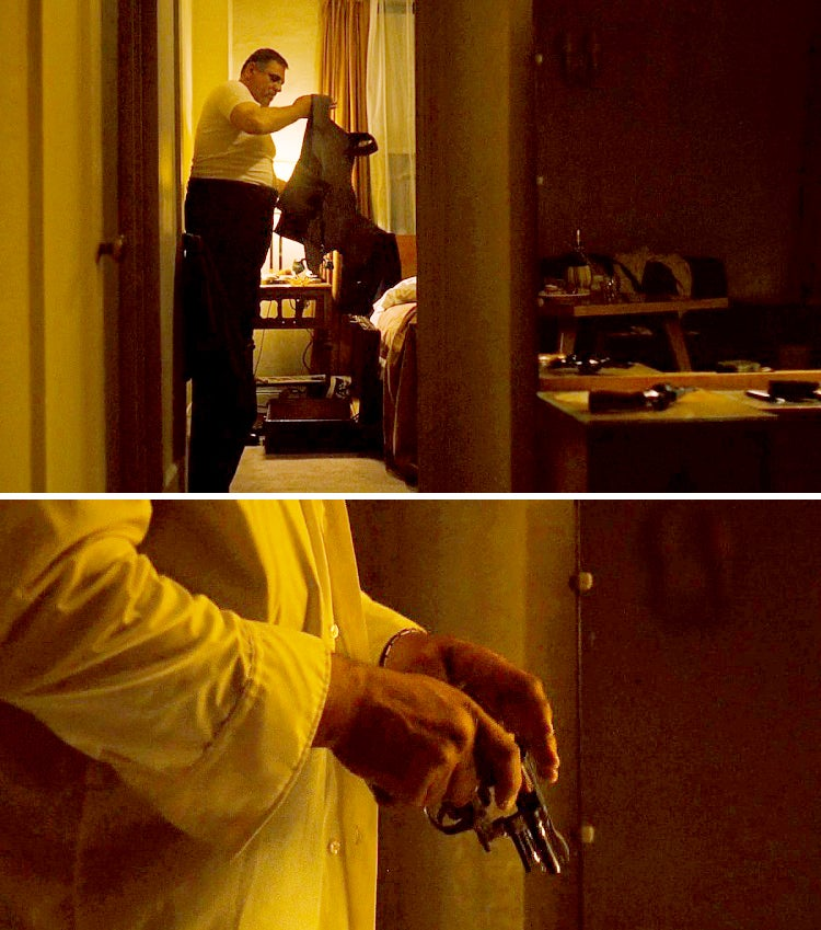 Luca Brasi readies his bulletproof vest and what is likely a pre-war S&W Registered Magnum.