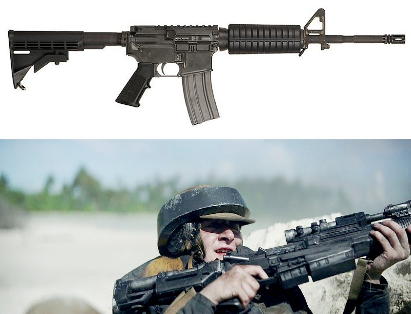 The Blastech A-300, used by some Rebel troops, is based on an AR-15 platform rifle. In this shot, you can clearly see the forward assist and brass deflector on the receiver.