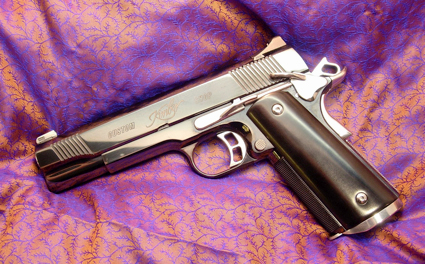 A close-up of one of Ross' custom Kimber pistols.
