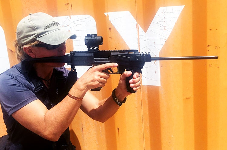 The Scout, or the similar Micro Roni, are ideal urban environment carbines. Collapsible and concealable, with a shorter effective range than a centerfire, these devices exploit the Glock for a new app