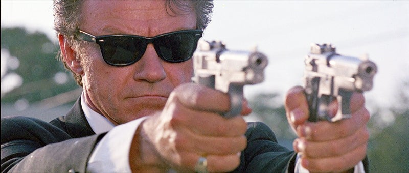 Mr. White (Harvey Keitel) shoots an S&W 659 and a 639 at pursuing cops during the heist escape.