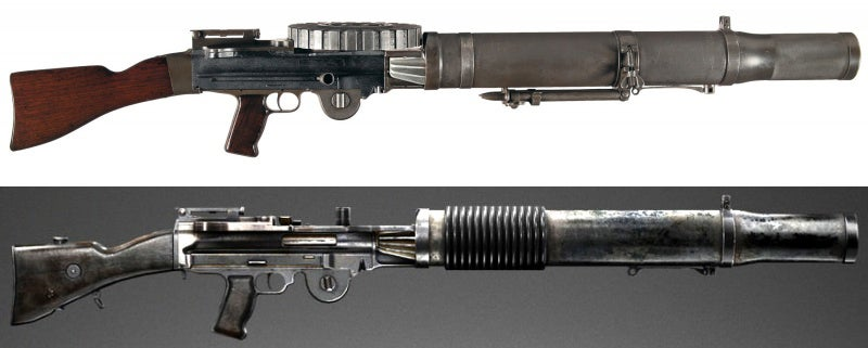 The BlasTech T-21 Light Repeating Blaster, which was also seen in the original trilogy, is based on the Lewis machine gun.