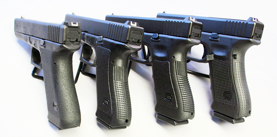 From left to right are Gen 1, Gen 2, Gen 3 and Gen 4 grips.