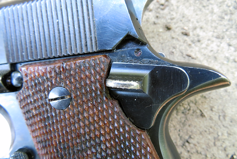 The thumb safety on the Star Model B looks like a dead ringer for the one on a 1911A1 pistol, but it can be activated whether the Model B's hammer is cocked or not.