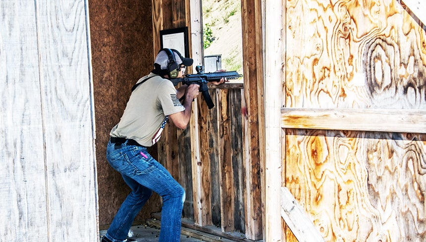 The shoot house gives participants an idea of how law enforcement employs the carbines in real world situations.