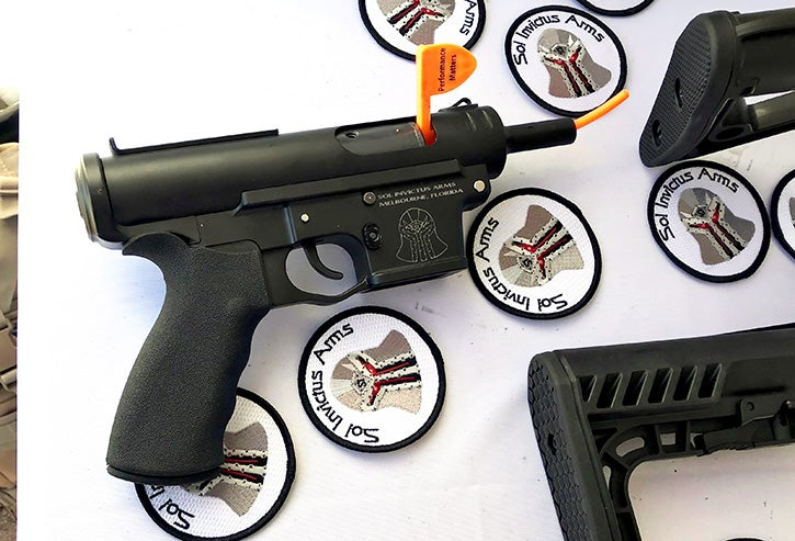 The new aluminum TAC-9 lower with a TEC-9 upper attached in a pistol configuration. When the full firearm launches in the summer, it will accept Glock magazines.