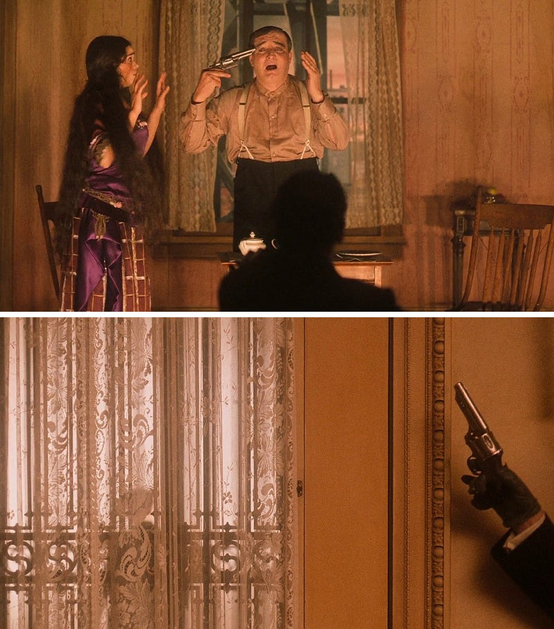 An actor in an Italian stage play uses Merwin & Hulbert revolver during his performance (top) and Clamenza uses the same gun later during the rug theft scene.