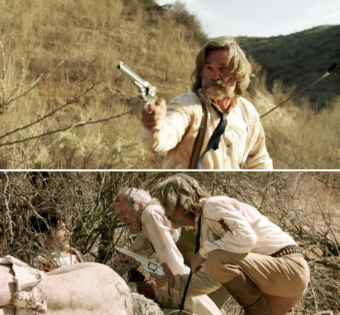 Later in the film, Hunt carries a full-sized S&W Schofield with a nickel-plated finish and ivory grips.
