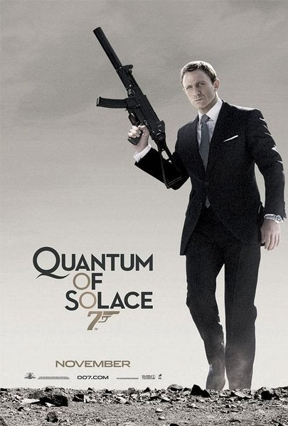 Even though he's depicted on the movie's poster with the suppressed Heckler & Koch UMP-9 from the previous film, he never uses it in *Quantum*.