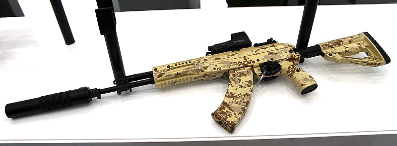 The AK-15, chambered in 7.62x38mm, fitted with a suppressor.