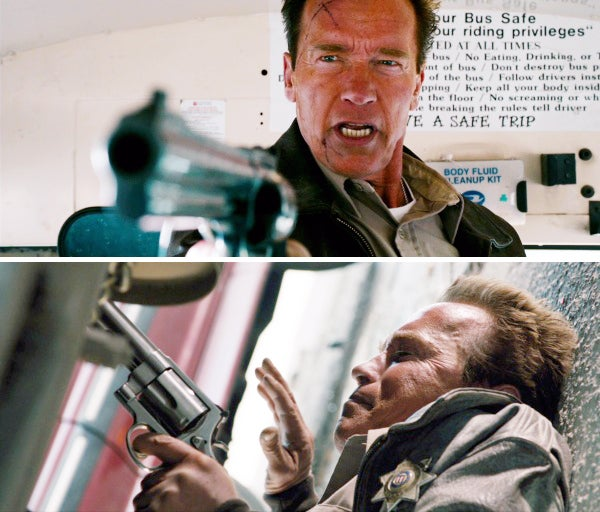 Owens uses the Model 500 against the bad guys on the school bus.