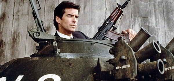 Bond brings the AKS-74U into the T-55 tank with him.