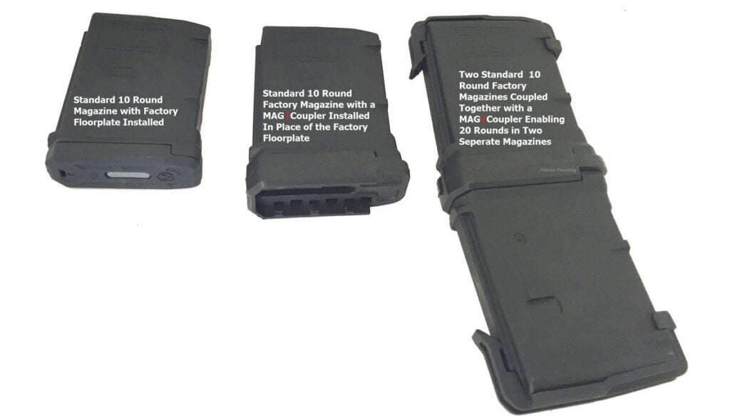 The MAG Coupler fits two 10-round magazines together by replacing their floorplates.