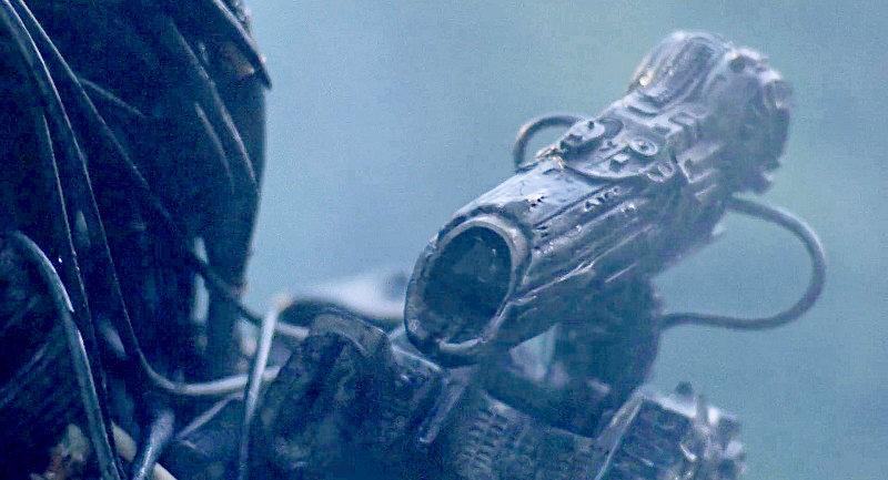 A close-up of the Predator's shoulder-mounted
