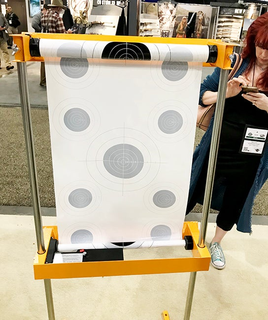 A view from the back of the target system shows how it works.