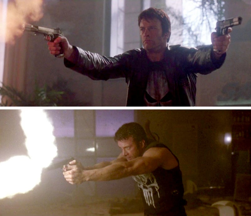 Castle firing his 1911s together and in a more realistic and tactical fashion.