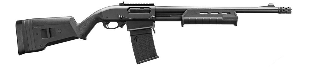 The Remington 870 DM Magpul shotgun with a six-round detachable box magazine and Magpul buttstock and forend, will be the first 870 DM to hit stories.