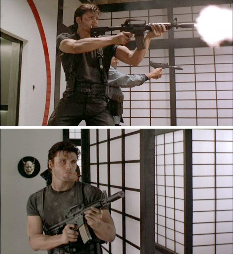 The use of the Colt Commando starts a trend of Castle using M4-type carbines in movies. He was frequently depicted in the comics using M1911A1 pistols and AR-like rifles, as he was originally a Vietna