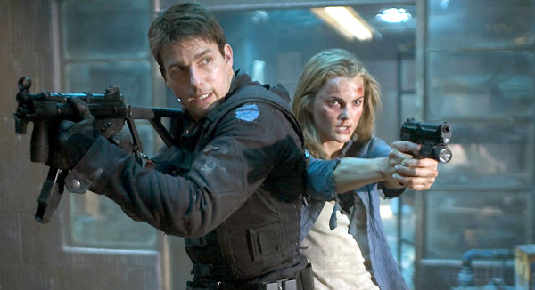 Hunt (Cruise) with his MP5K and Lindsay Ferris (Keri Russell) with her Beretta in a still from the rescue scene.