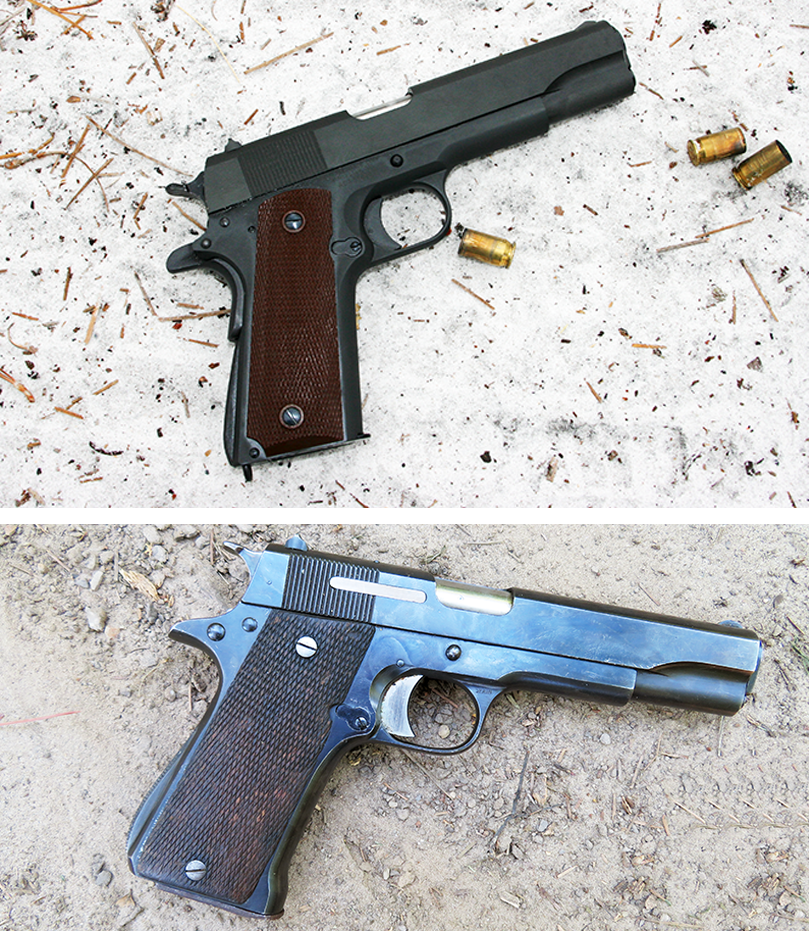 At top is an Auto Ordnance M1911A1, a replica of a U.S. military 1911A1. Note the grip safety, arched main strip housing and small fixed sights. Below it is a Star Model B. Note the external extractor