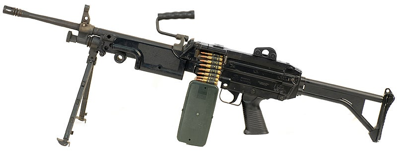 The M249E1 SAW (Squad Automatic Weapon) with 200-round ammo drum. This was the first major upgrade of the SAW officially adopted by the U.S. military.