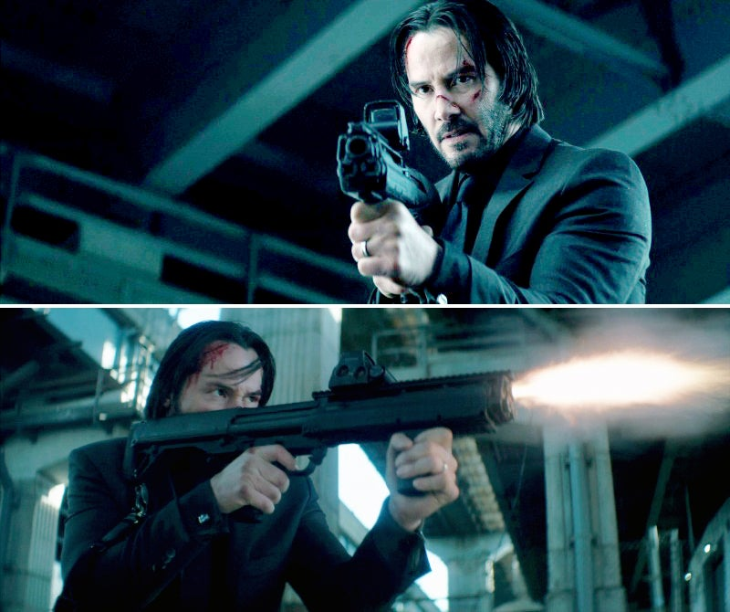 Wick picks up a bad guy's Kel-Tec KSG pump action shotgun.
