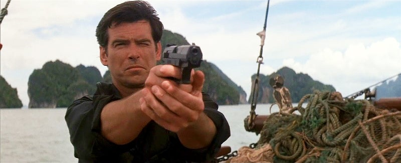 Brosnan is the first Bond to make a permanent switch to the character's sidearm, opting for the more modern Walther P99.