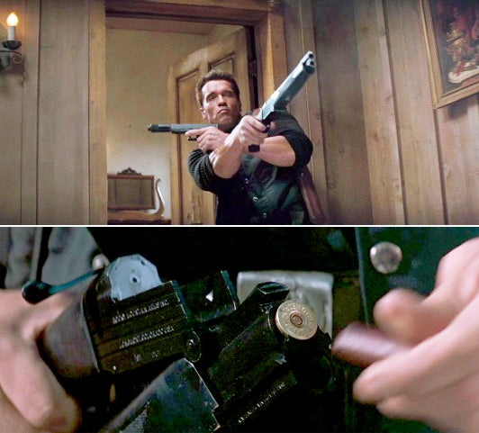 Kruger using the shotgun with his suppressed Glock, and a shot of the shotgun being loaded.
