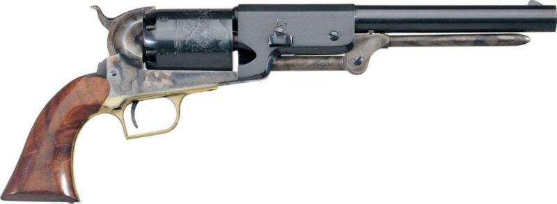 An 1847 Colt Walker revolver with a case hardened frame and a brass trigger guard.