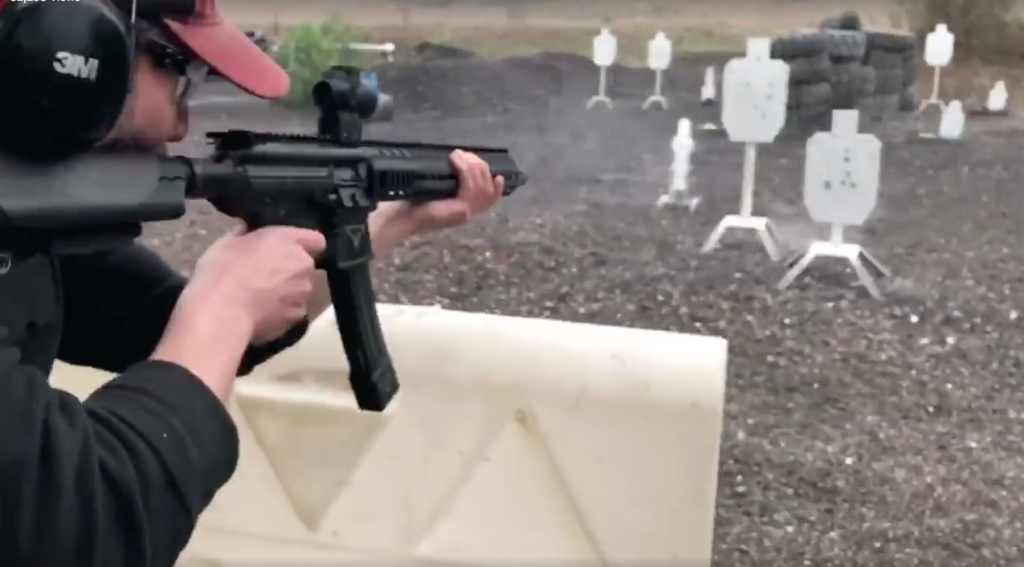 The video finishes with Reeves shooting a long string of steel targets with a pistol-caliber AR.