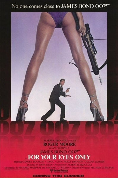 The poster for *For Your Eyes Only*, which has been often imitated since. In the film, Melina (Carole Boquet) uses a Bernett Commando Crossbow.