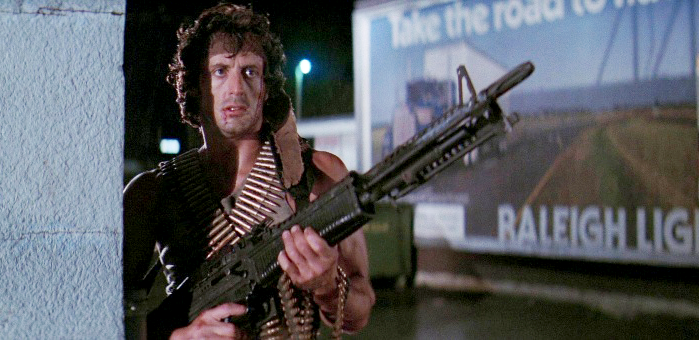This marks the first time John J. Rambo uses his signature firearm, the M60 machine gun.