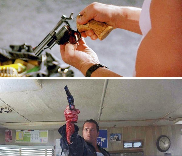 Kaminsky readies the revolver in his hotel room and later uses when cornered in a trailer.
