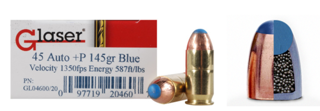 Glaser safety slugs are made of tightly fit bird shot pellets in a copper jacket with a polymer tip.