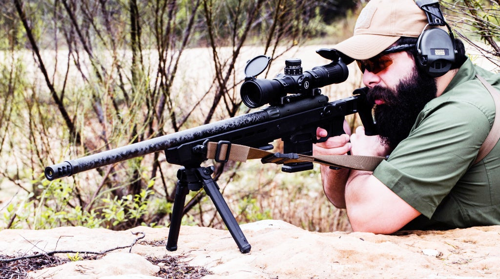 The Magpul Bipod, deployed and in use.