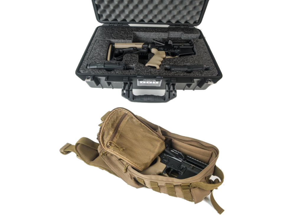 The folded XAR can fit inside the included Pelican Air 1525 case or even a small backpack. A latch holds the rifle in place when folded.