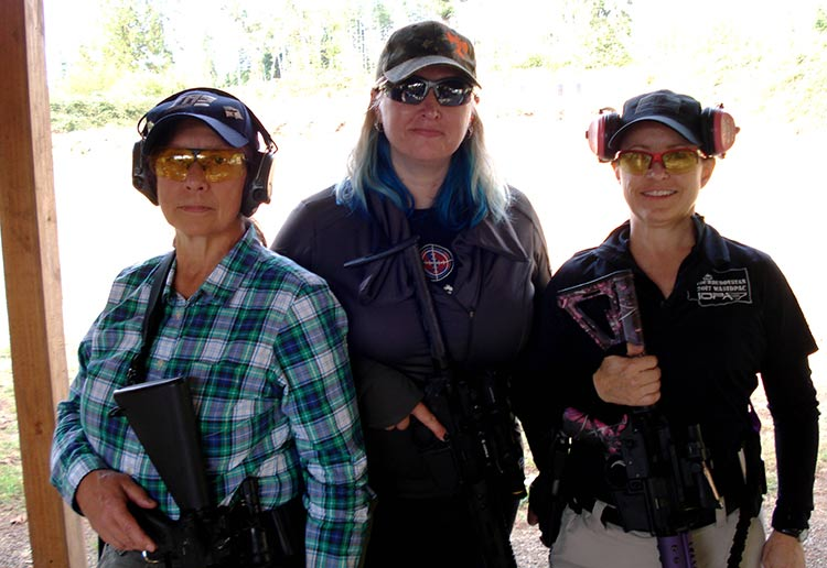 three women at a defensive rifle course