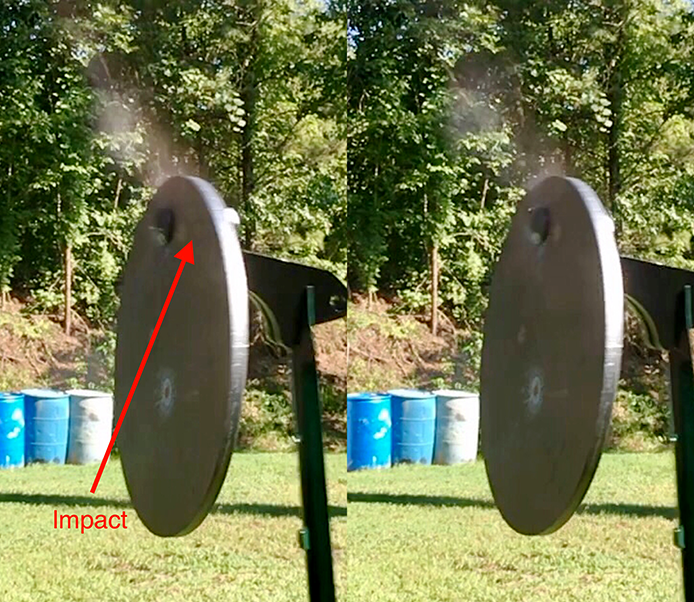 The Polycase Inceptor bullets exploded to mostly dust on impact.