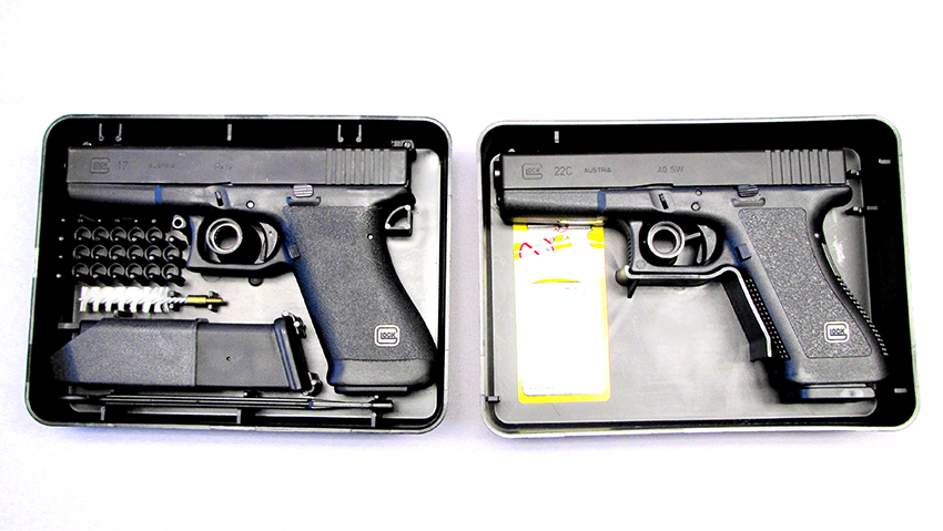 The G17 Gen 1 (left) is an Austrian model note the slots to store ammunition. The G17 Gen 2 (right) is for the American market note the missing cartridge slots.