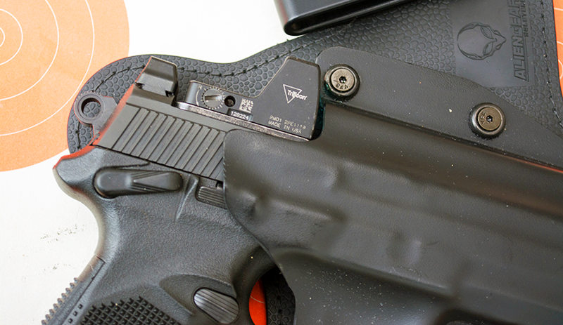 I had to file this Alien Gear holster just a bit so that the gun would insert properly with the Trijicon RMR installed.
