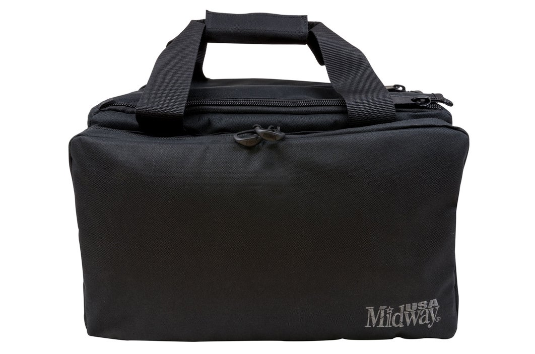 Annette Doerr goes with the Midway USA Compact Competition Range Bag for her gear.