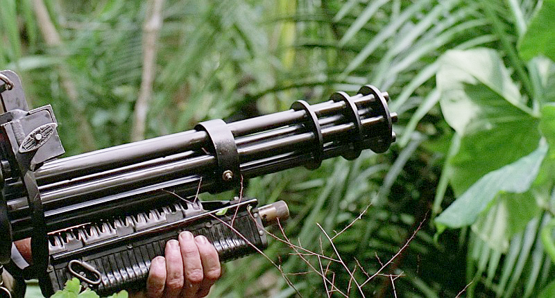 A close-up of the backward M60 forend that was added under the gun's rotating barrels.
