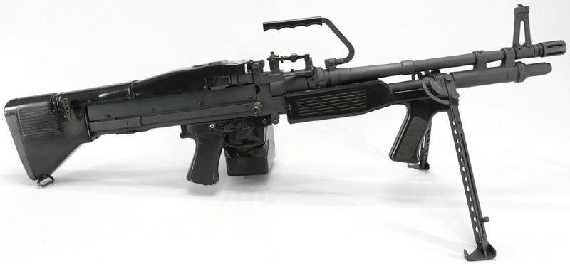 The M60E3 was a lightweight version of the machine gun developed in the mid 1980s for the U.S. Marine Corps