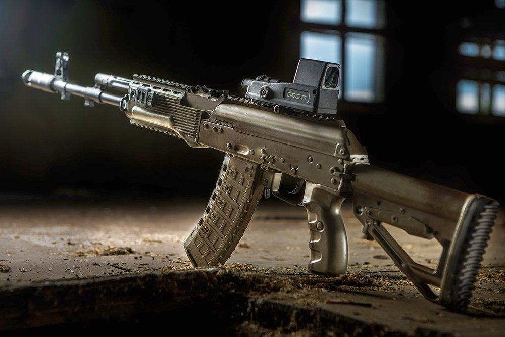 The AK-12, chambered in 5.45x39mm.