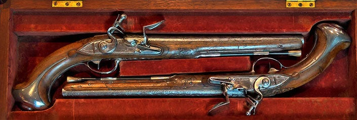 The Lafayette/Washington pistols came to Fort Ligonier in this walnut pistol case; however, there is no clear evidence of when the case was made.
