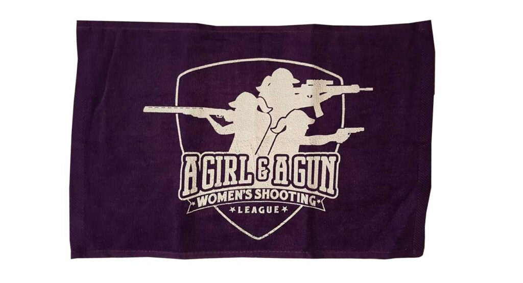 A range towel, like this one from A Girl and a Gun, is a range necessity